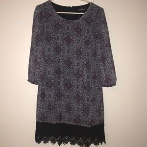 Patterned dress with crochet trim